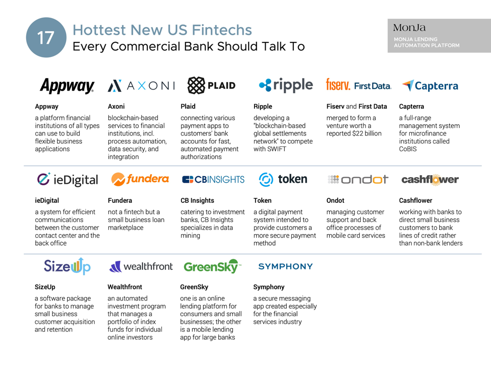 17 hottest new US fintechs every commercial bank should talk to